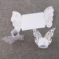 50pcs Butterfly Style Laser Cut Paper Napkin Ring Wedding Ta...
