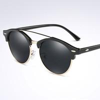 편광 선글라스 남성 여성 브랜드 디자이너 클래식 빈티지 리벳 라운드 태양 안경 금속 실외 낚시를위한 편광 안경
