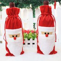 أكياس غطاء زجاجة النبيذ الأحمر عيد الميلاد سانتا كلوز عشاء الجدول الديكور الرئيسية الديكورات هدية حقيبة هدية حماية الزجاج الغبار