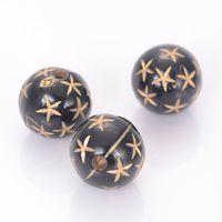 100 Stück 12mm Acryl runde Perlen mit Gold Mehrere Stern Antik-Design-Korne für Schmuckherstellung Zubehör Gefüttert
