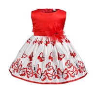 Mädchen Schmetterling Prinzessin Rock Sommer Rote Blume Ärmellose Kleider Baby Kleinkinder Kinder 1-6 T Für Hochzeit Prom Party