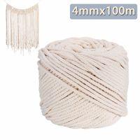 Durable 4mmx100m Decorazioni fatte a mano Naturale Beige Bianco Cotone macramè corda intrecciata Corda fai da te accessori tessili per la casa Craft