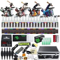 Professional 4 Guns Tattoo Kit 40 Color Inks Power Supply 50 Needles Tips D120GD-16