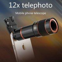Telescope Telefone Universal Clipe 12X Zoom Móvel lente teleobjetiva Smartphone externa lente da câmera para o Galaxy S9 iPhone X S8 Nota 8