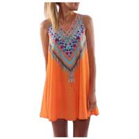 빈티지 인쇄 여성 드레스 목 민소매 캐주얼 드레스 보헤미안 섹시한 쉬폰 비치 드레스 여름 드레스 브랜드 새로운 Vestidos 도매