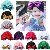 Baby girl christmas hat Wholesale Sequins Bow muslim turban ...