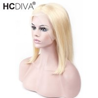 150% Density Lace Front Human Hair Wigs 613 Blonde Short Bob...