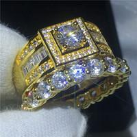 El yapımı severler Nişan yüzüğü seti 10KT Sarı Altın Dolu çift alyans yüzükler kadın erkek 5mm 5A zirkon cz Takı