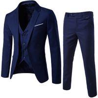 2018 Designer Men Suit Smoking dello sposo Groomsmen Side Vent Slim Fit Best Man Suit Abiti da uomo Matrimonio Bridegroom Jacket + Pant + Vest