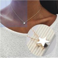 Chic Bayan Nacklaces 3D Yıldız Gümüş / Altın Sesi Gerdanlık Kolye Bildirimi Kolye Gotik Tarzı Kızlar Için Hediyeler / Bayanlar