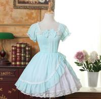 Thema Kostüm Maßgeschneidert 2021 Sommerlicht grün Sweet Lolita Dress Square Hals Kurzarm Rüschen Girls Chiffon