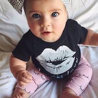 Adorável Meninas Do Bebê Camisetas Curtas Preto Branco Lábio Tops Crianças Olhos Bonito Calças Compridas Roupas Ternos