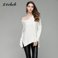 21Club Big V Collar Knitted Pullovers Solid Long Sleeves Loo...
