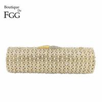 Boutique De FGG aushöhlen wulstige Frauen-Goldabendtaschen Hochzeit Handtasche Braut Mini Clutch Purse