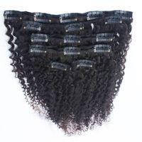 8A 8pcs 인간의 머리카락 확장에 곱슬 곱슬 클립 자연 블랙 100g 전체 머리 브라질 레미 헤어 클립 무료 배송