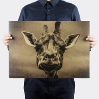 Giraffa vintage animale Poster retrò pittura decorativa carta kraft carta da parati adesivi murali poster bar caffetteria stampa foto 51x35,5 cm