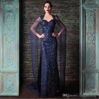 Рами Кади Классические темно-синие вечерние платья с пайетками Уникальная Русалка с блестками и платком Арабский коктейльное платье нестандартного размера