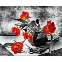 NEW Diamond painting Cross stitch red flower full square Dia...