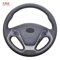 Yuji-Hong искусственная кожа автомобиля рулевое колесо охватывает чехол для KIA K3 2012-2015 ручной сшитые автомобилей стайлинг крышка