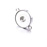 NoosaTwo orejas de acero inoxidable de 18 mm botón a presión base accesorios hallazgos botón de metal para hacer bricolaje broche de presión collar de la joyería a presión
