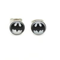 أسود باتمان الأذن مسمار بطل الجراحية الصلب ترصيع الأقراط 8MM بالجملة الأذن دبوس تصميم شعبي