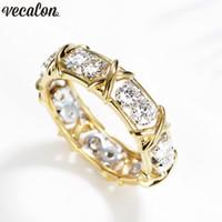 Vecalon infinity Lovers Anello 5A Zircon Cz Fedi nuziali per le donne uomini oro giallo Filled Bridal Engagement Band Gift