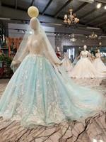 在庫あり2019年実質サンプル高品質シアートップブルーチュールウェディングドレス長袖パーティードレス