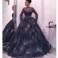 Schöne starry Kleid Abendkleider Mode Bateau Neck Langarm Flauschiger Abendkleid Luxus Dubai Saudi-Arabien Celebrity Red Teppichkleid