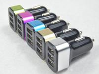 3 puertos USB adaptador triple del cargador del coche del cargador del coche de metal de aluminio para Samsung Galaxy Huawei HTC
