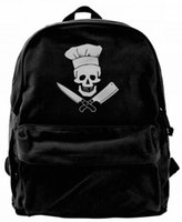Cooking Skull Hat Grill Master Canvas Shoulder Backpack Cute...
