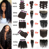 Straight Brazilian Hair Deep Wave Bundles with Closure Body ...