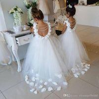 Princess Flower Girls Dresses Communion Gowns Lace/Satin Floor Length Kids Little Girls Wedding Dresses