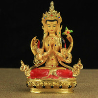 6 inch Color Gilded Tantric Colored Fengshui Four- arm Avalok...