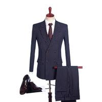 2019 последние пальто дизайн брюк шерсть черная полоса двубортный пики отворот смокинги мужчины свадебные костюмы портной блейзер жених