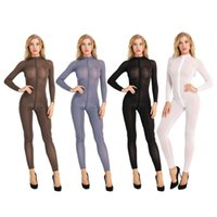 Femmes Sheer Opaque manches longues Stretchy Brillant Jumpsuit Sheer Double Crotch Zipper Leotard Sexy Bodysuit Costume Catsuit