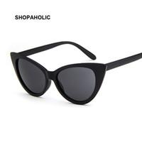 Quadro Mulheres Olho de gato óculos vintage Marca óculos de sol Sexy pequeno Black White Cateye óculos de sol UV400 Feminino