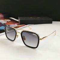 Square Pilot Солнцезащитные очки Золотой металл / серый Градиент Sonnenbrille Occhiali Da Sole Мужские Солнцезащитные очки Старинные очки Высокое качество Новый WTH