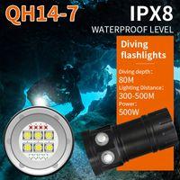 Qh14-7 500 w 50400lm subaquática 80 m ipx8 profissional à prova d 'água led lanterna de mergulho tocha foto fotografia luz de vídeo