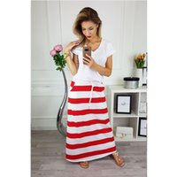 Casual Striped Bandage Long Skirts Womens Lace Up Beachwear ...