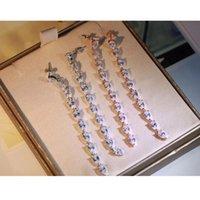 Сияющий супер длинные стерлингового серебра 925 серьги 1 строка Spindling капли воды кубический Циркон камень мотаться серьги невесты женщины свадебные украшения