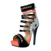Zandina Yeni Ürünler Kadınlar Bayanlar El Yapımı Yüksek Topuk Sandalet Platformu Zincirleri Deco Parti Düğün Ofis Yaz Moda Ayakkabı A012