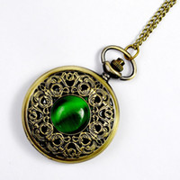 50pcs lot Classic green cat eye large pocket watch carved ho...