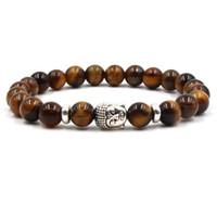 Buddha Yoga Armbänder Naturstein Achat Weiß Türkis Tigerauge Armband Yoga Armreifen Für Frauen Männer Geschenk