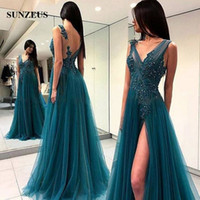 2018 Evening Dress Dark Green Tulle Party Gowns For Women Il...