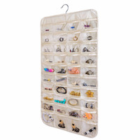 Hanging Jewelry Organizer 80 Pocket Home Organizador de pared Natural Canvas Ultra para sostener joyas White black Beige