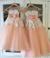 2019 Peach Pink Lace Tulle Flower Girls Dresses Sheer Neck S...