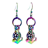 Z656 Rainbow Color Leuke boot anker schoonheid parel kooi oorbellen haken met 8mm plastic kralen gift