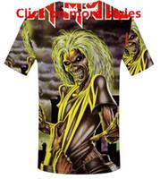 Nueva Moda Parejas Hombres Mujeres Unisex Anime Iron Maiden Killers Divertido 3D Imprimir Sin Cap Casual camiseta Camisetas Tee Top T17