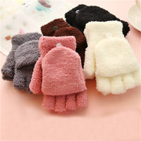 Fashion Women Coral Velvet Fingerless Gloves Winter Fall Han...