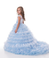 Pretty Baby Blue Tulle Layers Applique Flower Girl Dresses G...